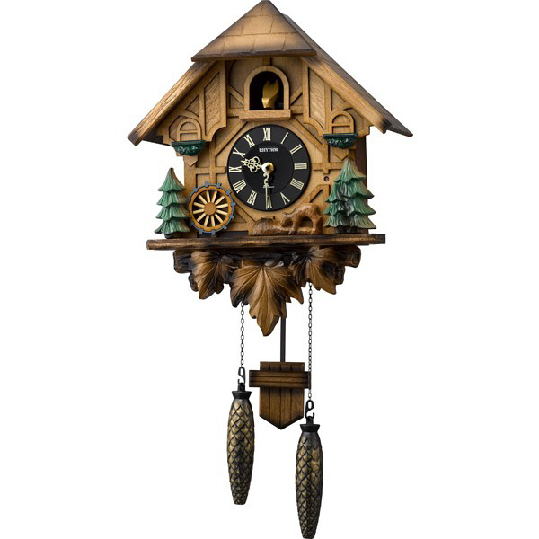 リズム時計(RHYTHM) カッコーティンバー [クォーツ 掛け 時計] 4MJ423SR06 (直送品)