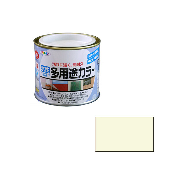 アサヒペン AP 水性多用途カラー 1/5L ミルキーホワイト as04 (直送品)
