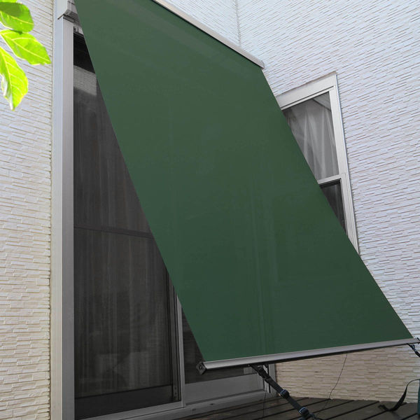 ニチベイ 外付けロールスクリーン ソヨカ 幅2000mm×高さ2000mm ボトルグリーン NY107 1セット (直送品)