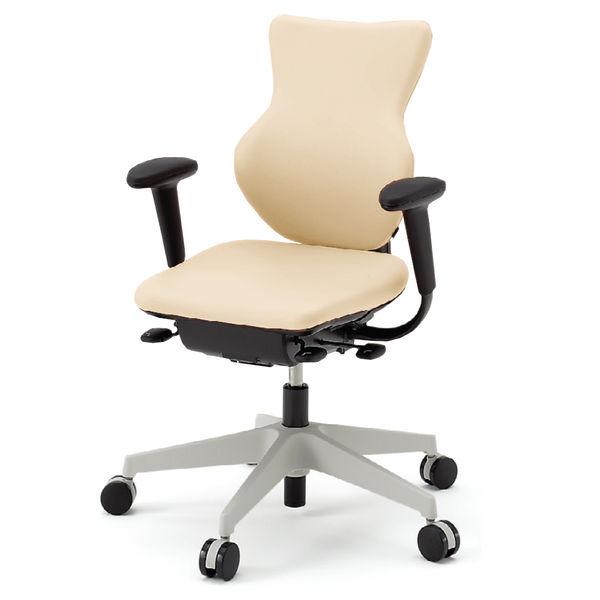 イトーキ cassico(カシコ) オフィスチェア T型肘付 背面:樹脂タイプ(オフホワイト) 背座:ミルキーホワイト 1脚 (直送品)