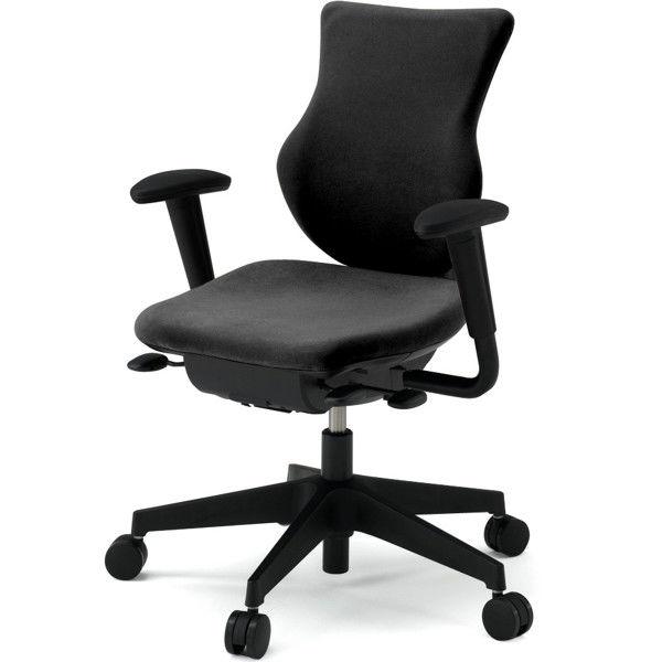 イトーキ cassico(カシコ) オフィスチェア 可動肘付 背面:樹脂タイプ・ハンガー付(ブラック) 背座:ブラック 1脚 (直送品)