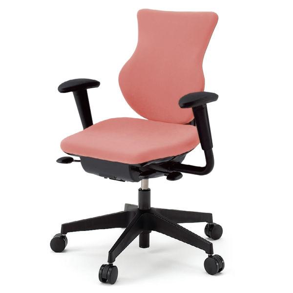 イトーキ cassico(カシコ) オフィスチェア 可動肘付 背面:樹脂タイプ(ブラック) 背座:コーラルピンク 1脚 (直送品)