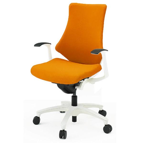 イトーキ エフチェア クロスバック ハイバック ホワイトフレーム ホワイト樹脂脚 T型肘付 背座:アンバーオレンジ 1脚 (直送品)