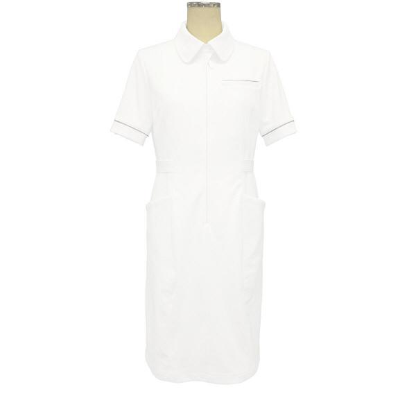 大真 裏地付き透けない白衣 ワンピース 医療白衣 半袖 白銀(プラチナシルバー) L NS200 (直送品)