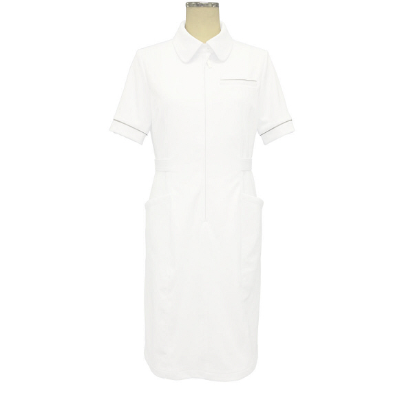 大真 裏地付き透けない白衣 ワンピース NS200 白銀(プラチナシルバー) LL 医療白衣 1枚 (直送品)