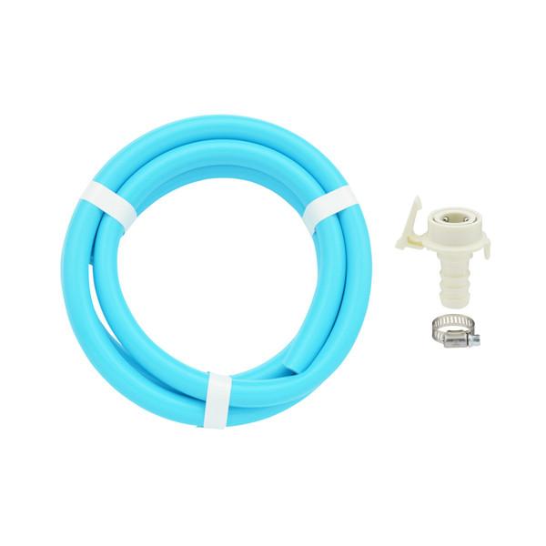 ガオナ 二槽式洗濯機用 給水ホース 2.0m ワンタッチ給水ジョイントセット (バンド付き 抜け防止 長さ調節可能 パステルブルー) GA-LC021(直送品)