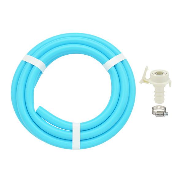ガオナ 二槽式洗濯機用 給水ホース 4.0m ワンタッチ給水ジョイントセット (バンド付き 抜け防止 長さ調節可能 パステルブルー) GA-LC023(直送品)