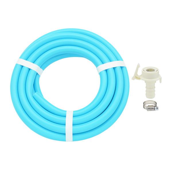 ガオナ 二槽式洗濯機用 給水ホース 5.0m ワンタッチ給水ジョイントセット (バンド付き 抜け防止 長さ調節可能 パステルブルー) GA-LC024(直送品)