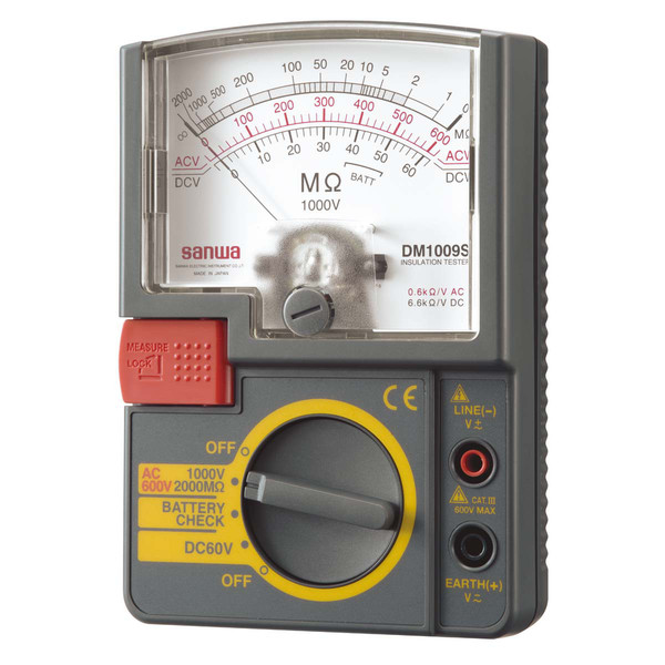 単レンジ式アナログ絶縁抵抗計 DM1009S 三和電気計器 (直送品)