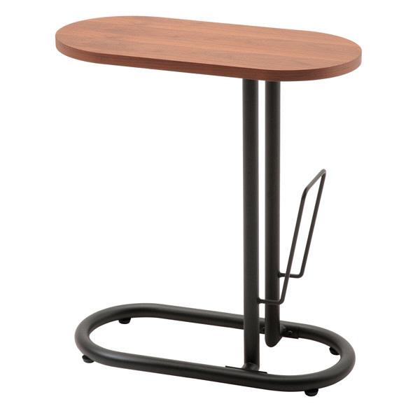 あずま工芸 Beak(ビーク) サイドテーブル ブックスタンド付 ウォルナット 幅500×奥行250×高さ555mm (直送品)