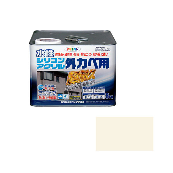 アサヒペン AP 水性シリコンアクリル外かべ用 8KG アイボリー 9010583 (直送品)