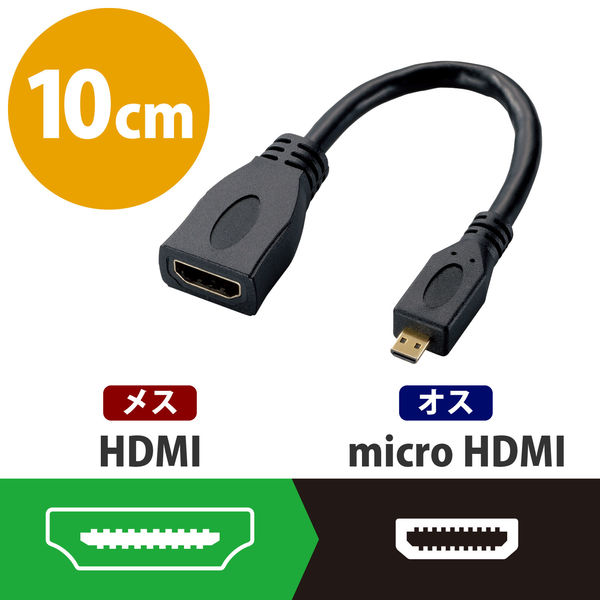 エレコム HDMI変換ケーブル AF-D ブラック AD-HDAD2BK (直送品)