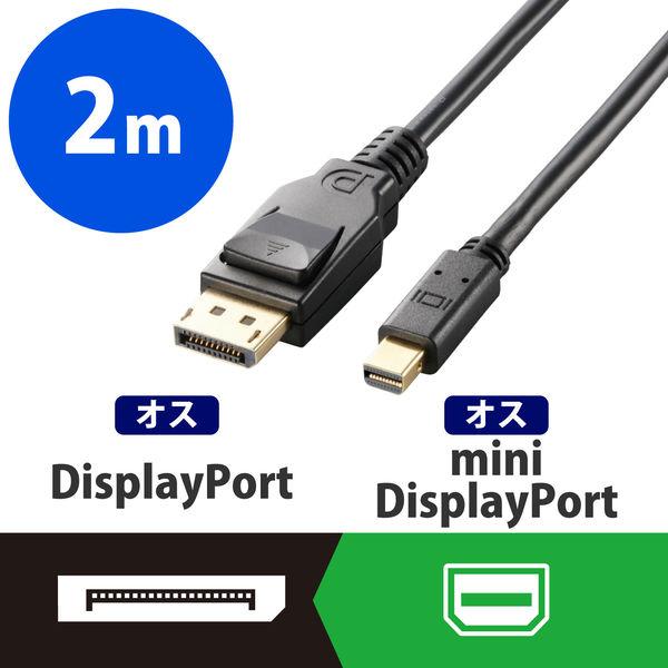 エレコム miniディスプレイポートケーブル ver1.2 2m CAC-DPM1220BK (直送品)