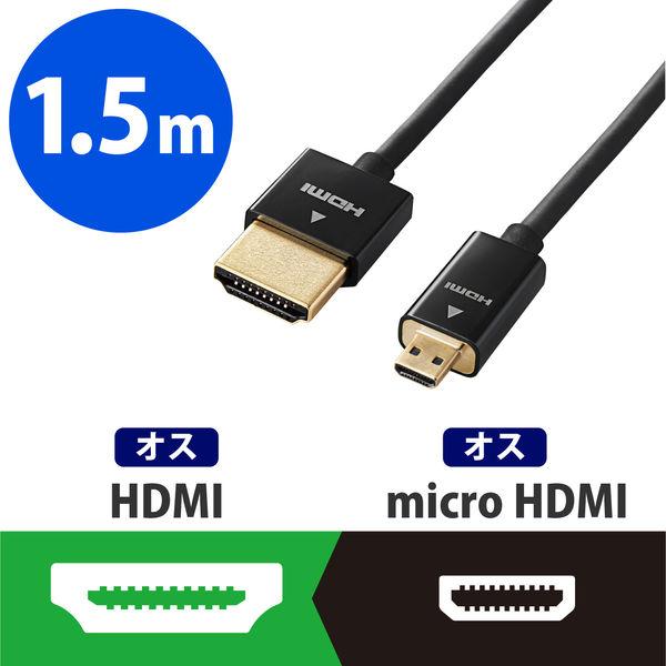 エレコム イーサネット対応スーパースリムHDMIケーブル(A-D) DH-HD14SSU15BK (直送品)