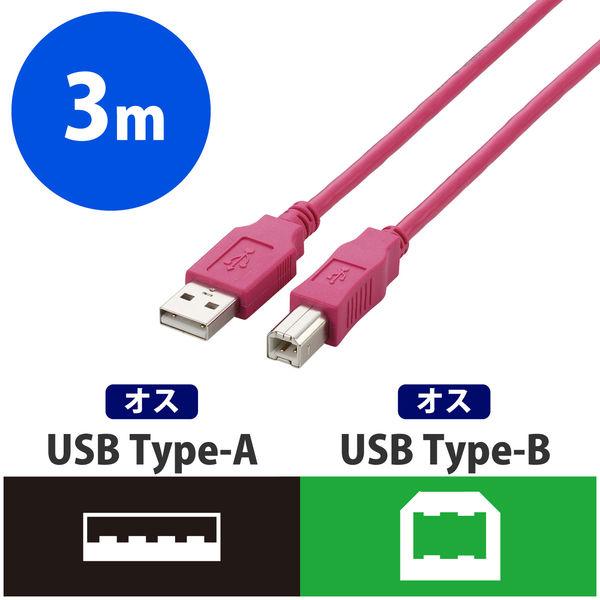 エレコム USB2.0ケーブル A-Bタイプ ノーマル 3m ピンク U2C-BN30PN (直送品)