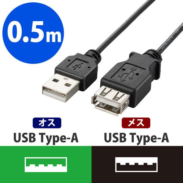 エレコム 極細USB2.0延長ケーブル A-A延長タイプ ブラック 0.5m U2C-EXN05BK 1個 (直送品)