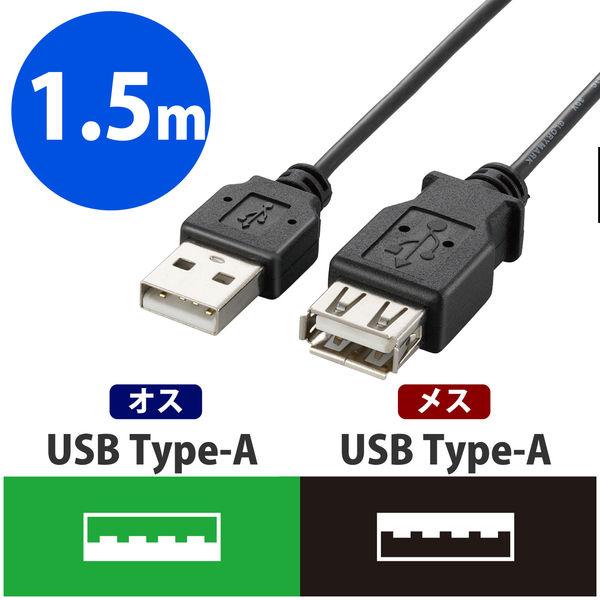 エレコム 極細USB2.0延長ケーブル A-A延長タイプ ブラック 1.5m U2C-EXN15BK 1個 (直送品)