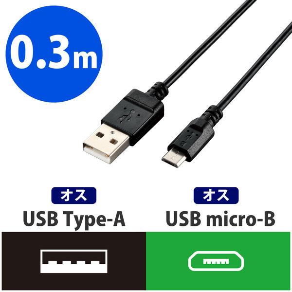 エレコム エコUSB2.0ケーブル(A-MicroB) U2C-JAMB03BK (直送品)