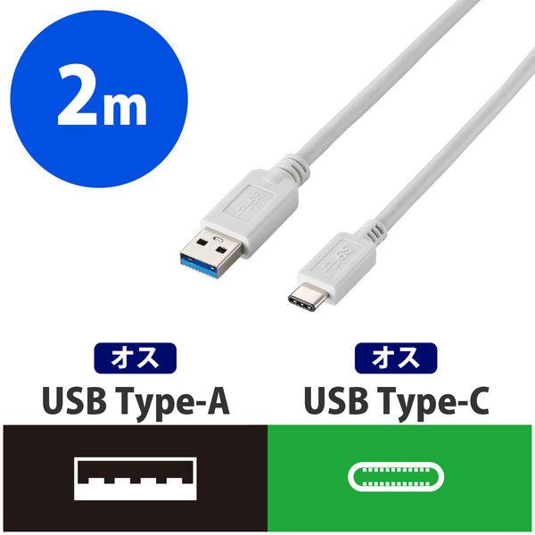 エレコム USB3.1ケーブル A-TypeC ホワイト 2.0m USB3-APAC20WH 1個 (直送品)