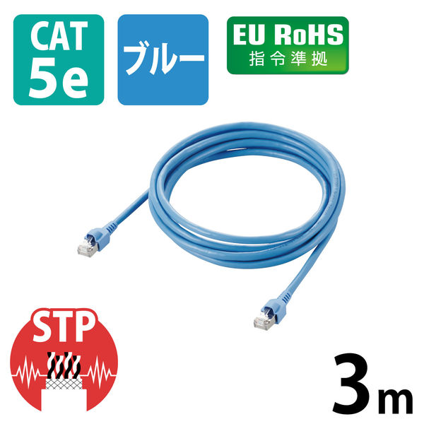 エレコム EU RoHS指令準拠 簡易包装STPケーブル LD-CTS3/RS (直送品)