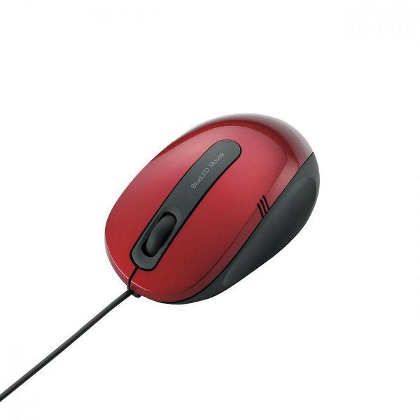 エレコム BlueLEDマウス 有線 3ボタン Mサイズ レッド M-BL17UBRD (直送品)