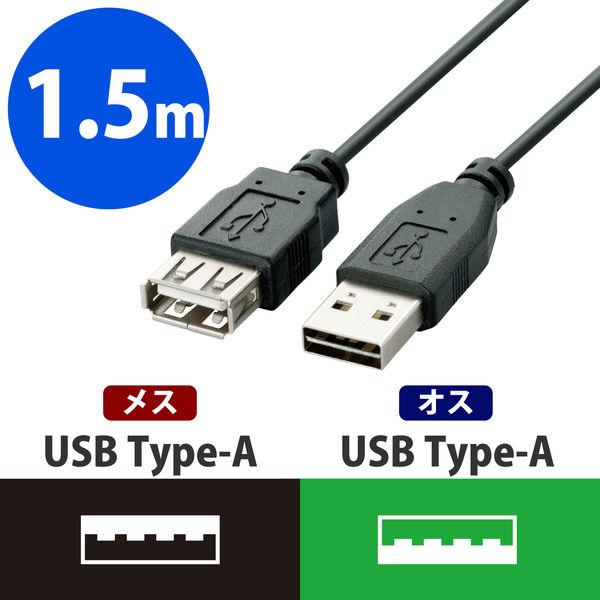 エレコム 両面挿しUSB延長ケーブル A-A ブラック 1.5m USB2.0 U2C-DE15BK 1個 (直送品)
