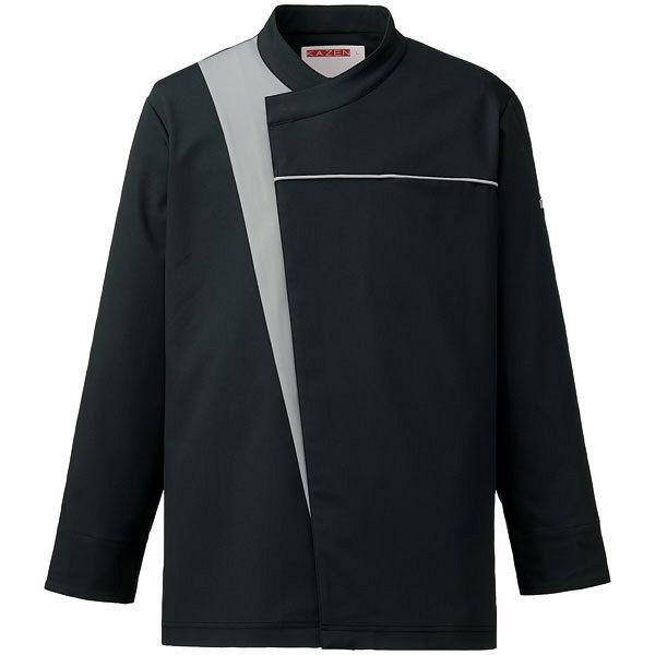KAZEN(カゼン) コックコート ブラックxグレー L 616-45 1着 (直送品)