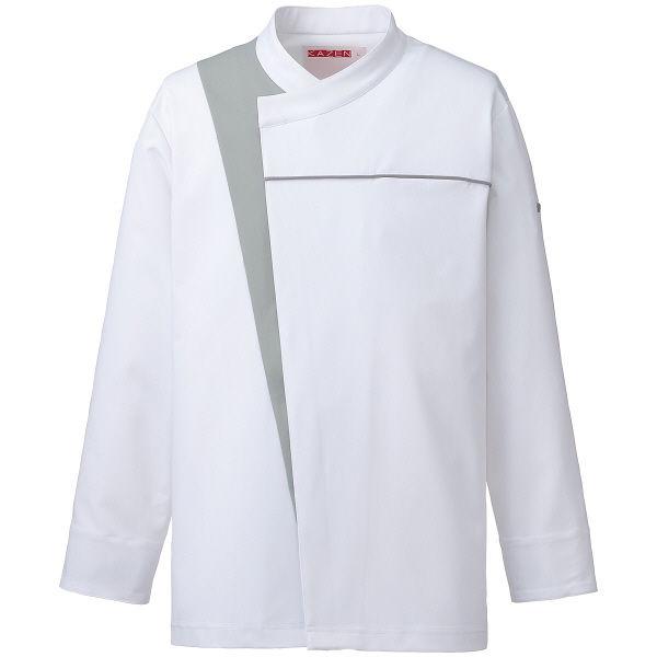 KAZEN(カゼン) コックコート ホワイトxグレー S 616-40 1着 (直送品)