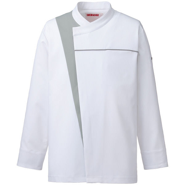 KAZEN(カゼン) コックコート ホワイトxグレー M 616-40 1着 (直送品)