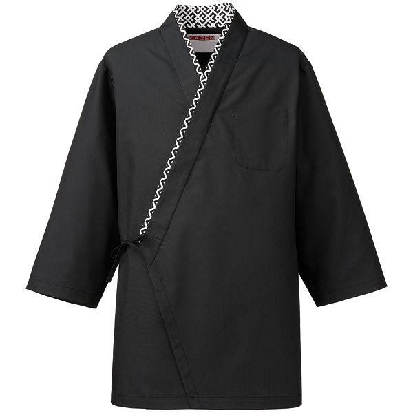 KAZEN(カゼン) ハッピコート 黒x幾何柄 L APK550-15 1着 (直送品)