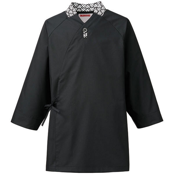 KAZEN(カゼン) モダン作務衣 黒x幾何柄 SS APK555-15 1着 (直送品)