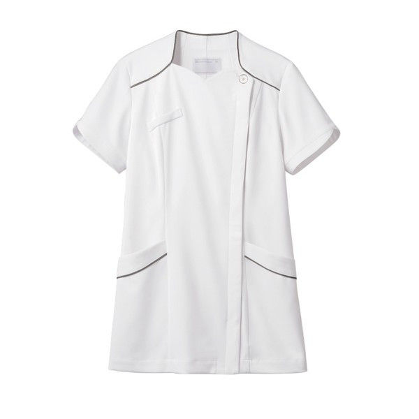 住商モンブラン ナースジャケット 医療白衣 レディス 半袖 白/シルバー S 73-2206 (直送品)