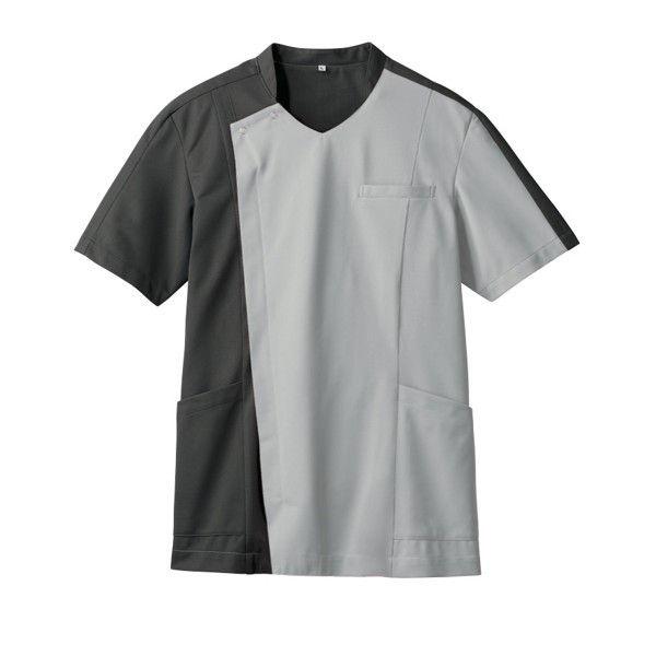 住商モンブラン メンズジャケット 医療白衣 半袖 シルバーグレイ/チャコールグレイ 3L 72-1271 (直送品)