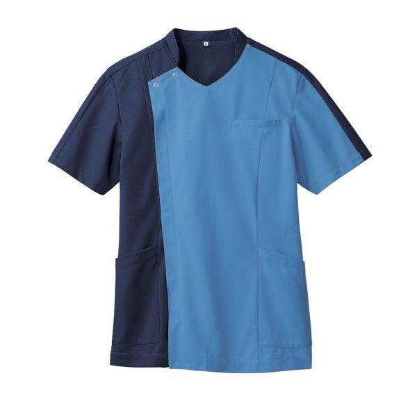 住商モンブラン メンズジャケット 医療白衣 半袖 コバルトブルー/ダークブルー 3L 72-1273 (直送品)