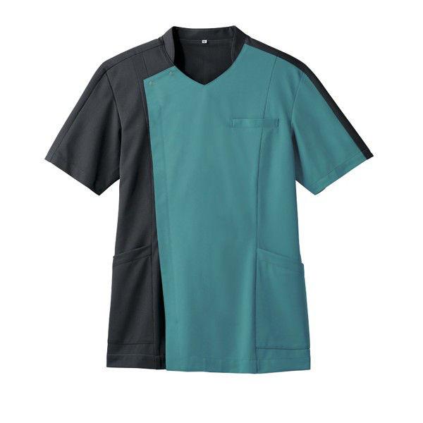 住商モンブラン メンズジャケット 医療白衣 半袖 ピーコックグリーン/チャコールグレイ LL 72-1274 (直送品)