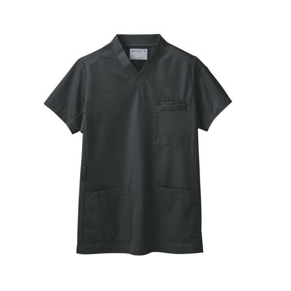 住商モンブラン スクラブ(男女兼用) ジャケット 医務衣 医療白衣 半袖 チャコールグレイ L 72-630 (直送品)
