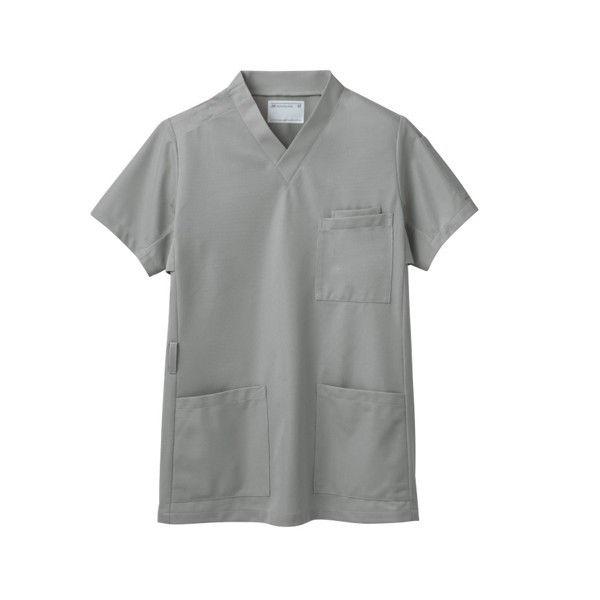 住商モンブラン スクラブ(男女兼用) ジャケット 医務衣 医療白衣 半袖 シルバーグレイ LL 72-631 (直送品)