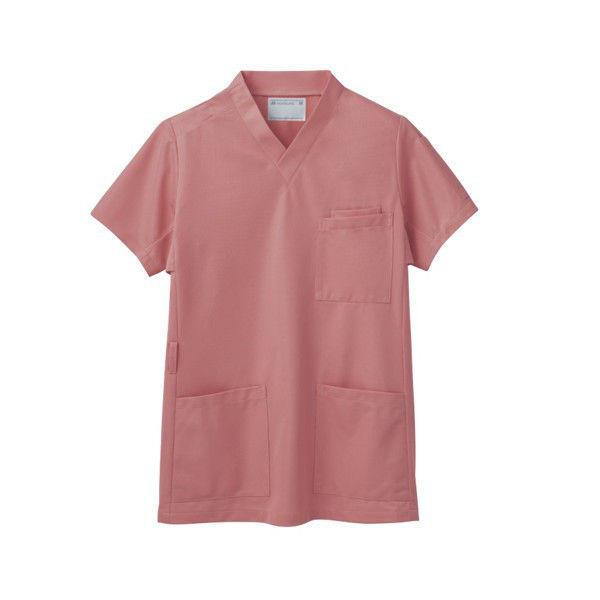 住商モンブラン スクラブ(男女兼用) ジャケット 医務衣 医療白衣 半袖 コーラルレッド L 72-632 (直送品)