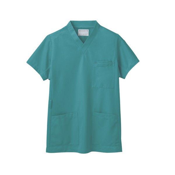 住商モンブラン スクラブ(男女兼用) ジャケット 医務衣 医療白衣 半袖 ピーコックグリーン LL 72-634 (直送品)