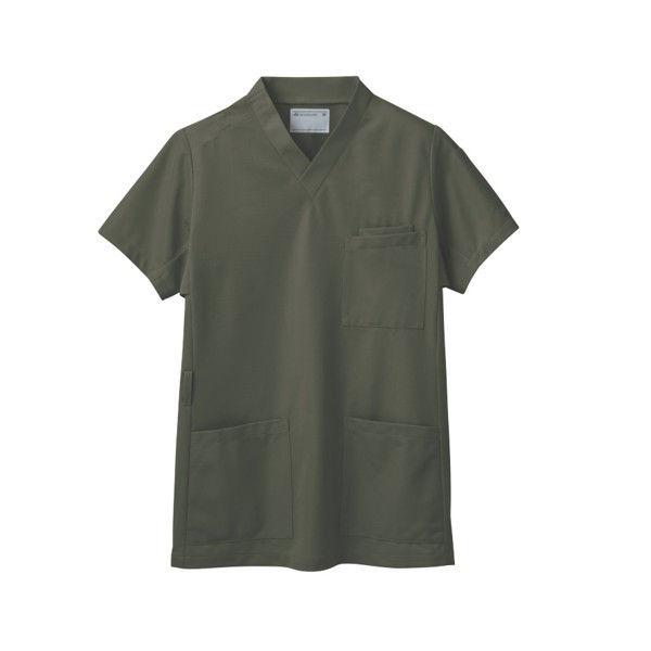 住商モンブラン スクラブ(男女兼用) ジャケット 医務衣 医療白衣 半袖 オリーブ L 72-637 (直送品)