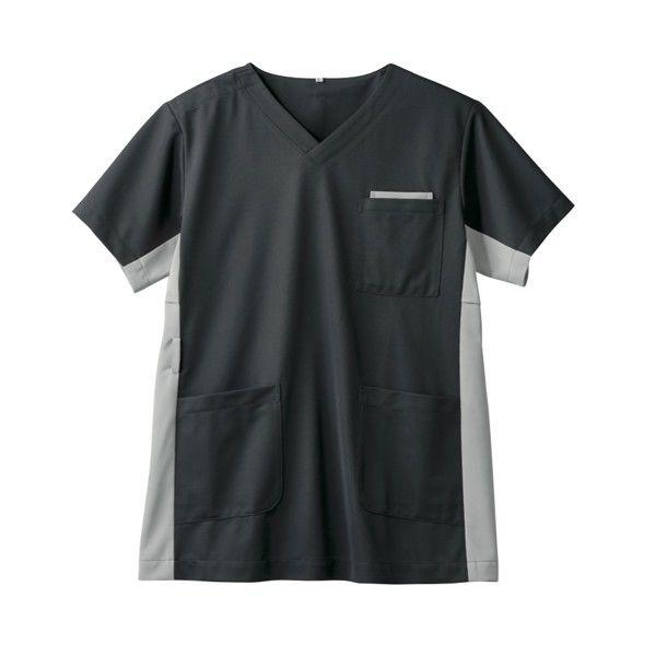 住商モンブラン 男女兼用ジャケット 医療白衣 半袖 チャコールグレイ/シルバーグレイ 3L 72-720 (直送品)