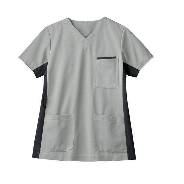 住商モンブラン 男女兼用ジャケット 医療白衣 半袖 シルバーグレイ/チャコールグレイ 3L 72-721 (直送品)