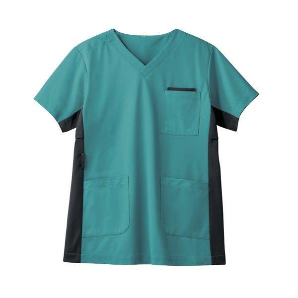 住商モンブラン 男女兼用ジャケット 医療白衣 半袖 ピーコックグリーン/チャコールグレイ LL 72-724 (直送品)