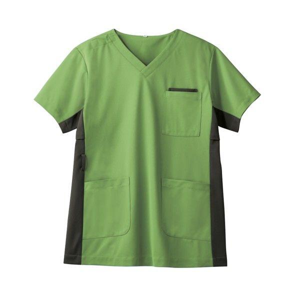 住商モンブラン 男女兼用ジャケット 医療白衣 半袖 リーフグリーン/オリーブ LL 72-728 (直送品)