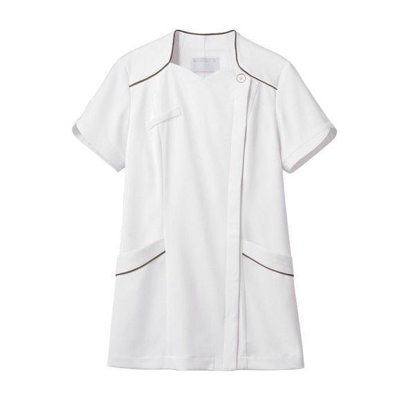 住商モンブラン ナースジャケット 医療白衣 レディス 半袖 白/ブロンズ L 73-2202 (直送品)