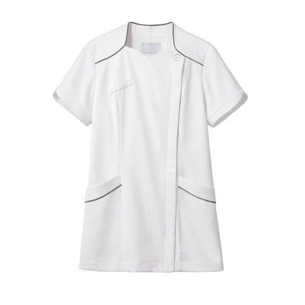 住商モンブラン ナースジャケット 医療白衣 レディス 半袖 白/シルバー M 73-2206 (直送品)