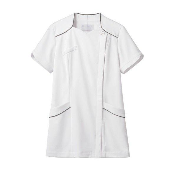 住商モンブラン ナースジャケット 医療白衣 レディス 半袖 白/シルバー LL 73-2206 (直送品)
