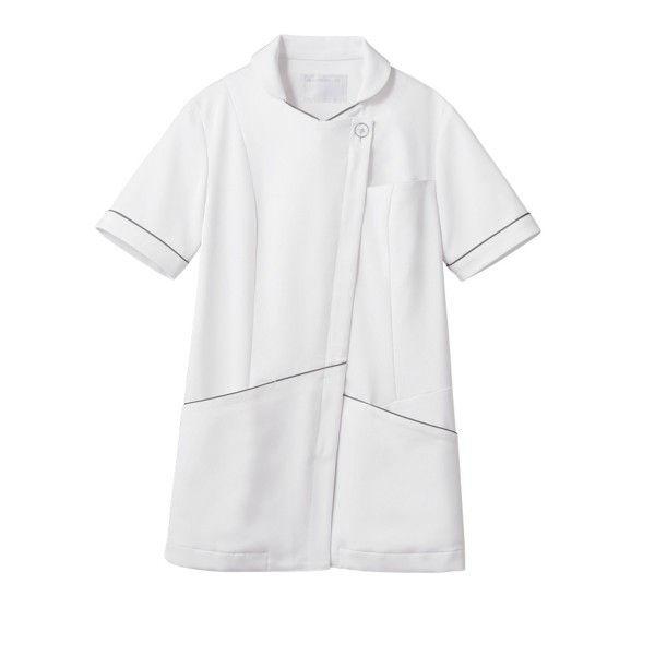 住商モンブラン ナースジャケット 医療白衣 レディス 半袖 白/シルバー M 73-2216 (直送品)