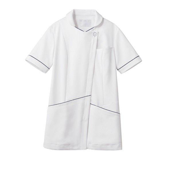 住商モンブラン ナースジャケット 医療白衣 レディス 半袖 白/ネイビー L 73-2218 (直送品)