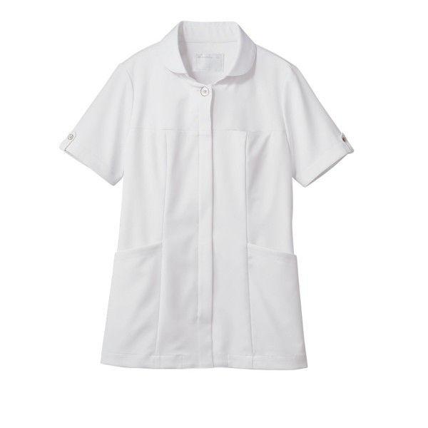 住商モンブラン ナースジャケット 医療白衣 レディス 半袖 白/ブロンズ M 73-2222 (直送品)